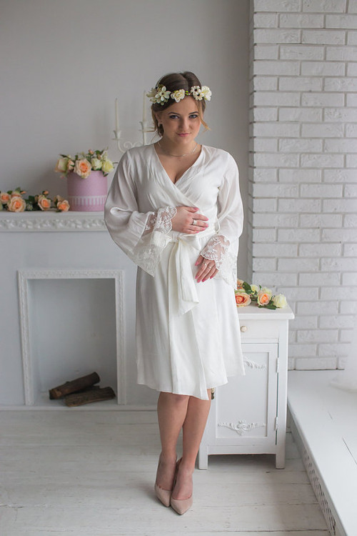 Lace Trimmed Bridal Robe from my Paris Inspirations Collection - Tiny Flowers Lace Cuffs