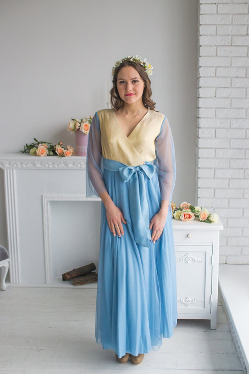 Dusty Blue Gold Tulle Bridal Robe from my Paris Inspirations Collection - Shimmering Grace in Dusty Blue