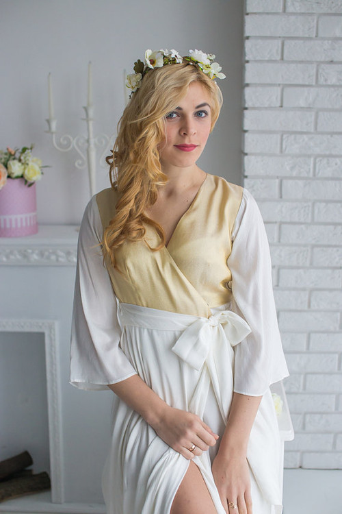 Ivory Gold Silk Bridal Robe from my Paris Inspirations Collection - Shimmering Grace in Ivory