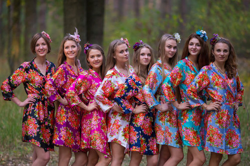 Bright Floral Posy Silk Bridesmaids robes | Kimono Style Getting ready robes