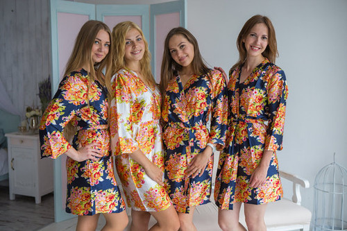 Navy Blue Floral Posy Silk Bridesmaids robes