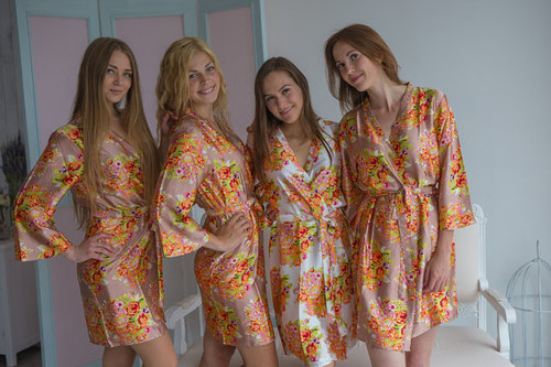 Rosegold Floral Posy Silk Bridesmaids robes
