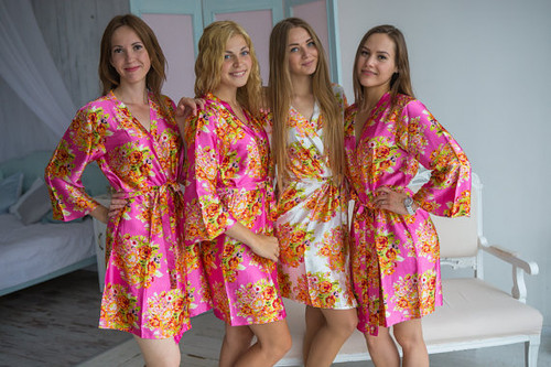 Hot Pink Silk Floral Posy Bridesmaids robes