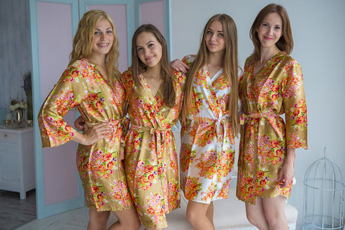 Gold Floral Posy Silk Bridesmaids robes