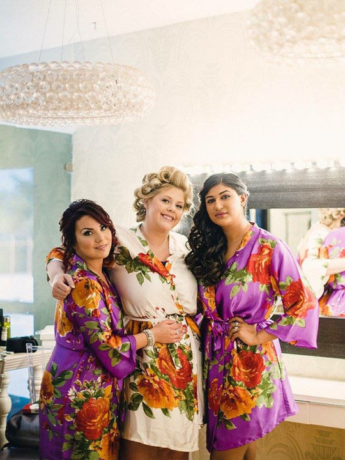 Purple Large Floral Blossom Silk Bridesmaids robes