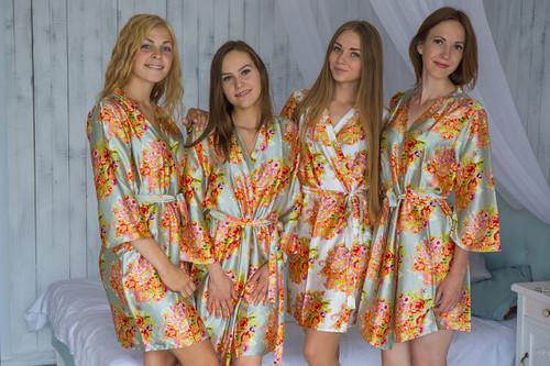 Gray Green Floral Posy Silk Bridesmaids robes