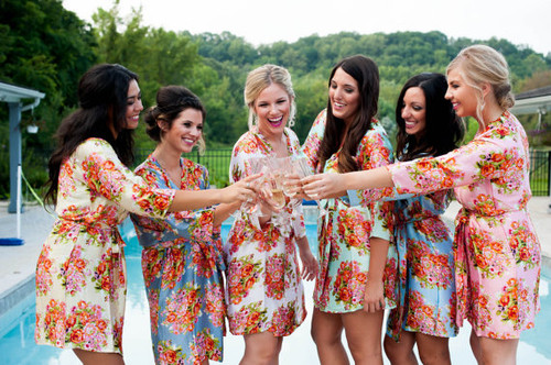 Pastel Floral Silk Bridesmaids Robes