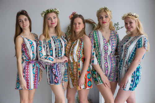 Mismatched Bridesmaids Rompers in Aztec Geometric Pattern
