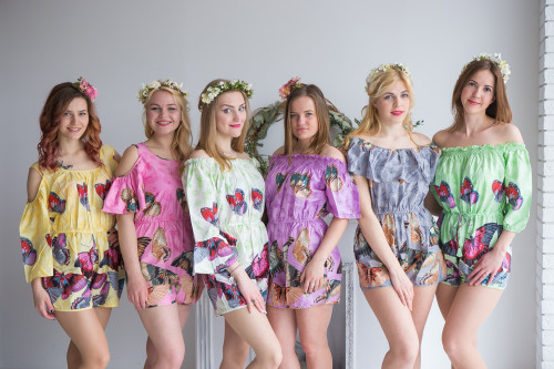 Mismatched Bridesmaids Rompers in Butterfly Baby Pattern