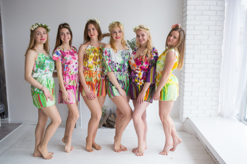 Mismatched Bridesmaids Rompers in Floral Watercolor Painting Pattern