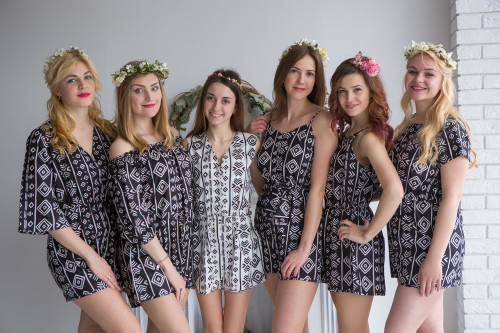 Mismatched Bridesmaids Rompers in Tribal Aztec Geometric Pattern