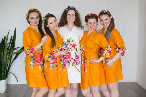 Mustard One long flower pattern Robes for bridesmaids | Getting Ready Bridal Robes