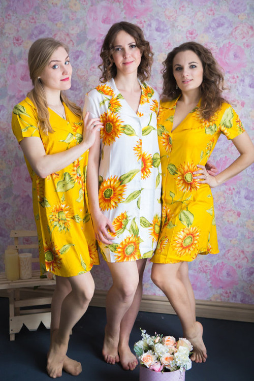 Sunflower  Patterned Bridesmaids Button down Shirts