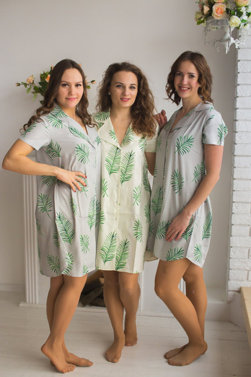Tropical Delight Palm Leaves Patterned Bridesmaids Button down Shirts