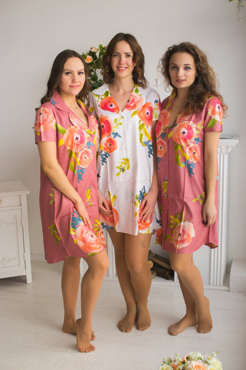 Smiling Blooms  Patterned Bridesmaids Button down Shirts