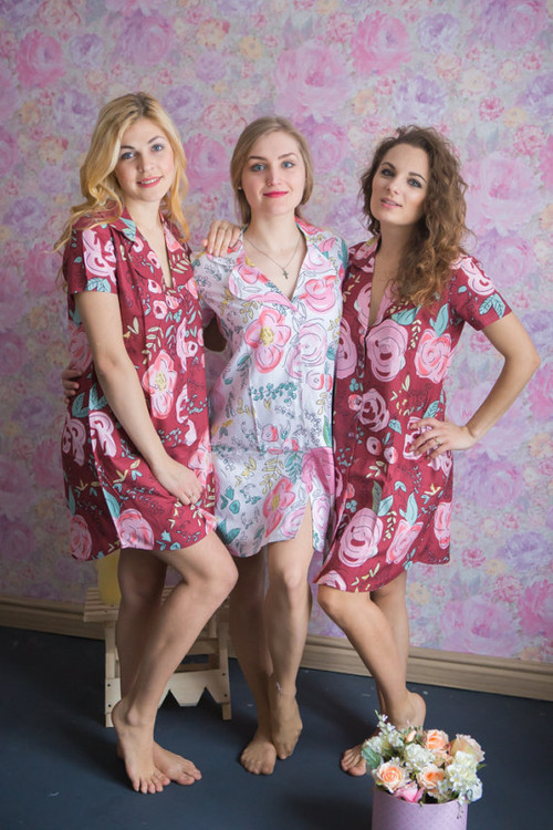 Whimsical Giggles Patterned Bridesmaids Button down Shirts