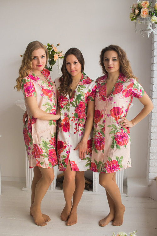 Fuchsia Large Floral Blossom Patterned Bridesmaids Button down Shirts