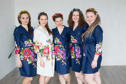 Navy Blue One long flower pattern Robes for bridesmaids | Getting Ready Bridal Robes