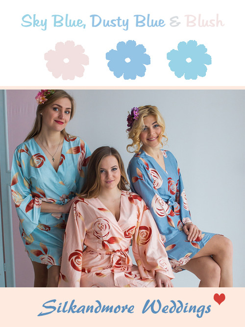Sky Blue, Dusty Blue and Blush - cori Wedding Color Robes - Premium Rayon Collection