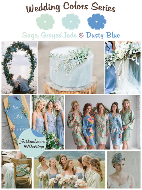 Sage, Grayed Jade and Dusty Blue Wedding Colors Palette
