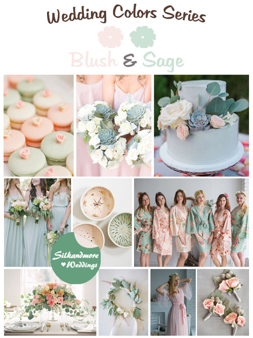 Blush Peach And Sage Wedding Colors Palette Robes By Silkandmore