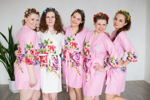 Pink One long flower pattern Robes for bridesmaids | Getting Ready Bridal Robes