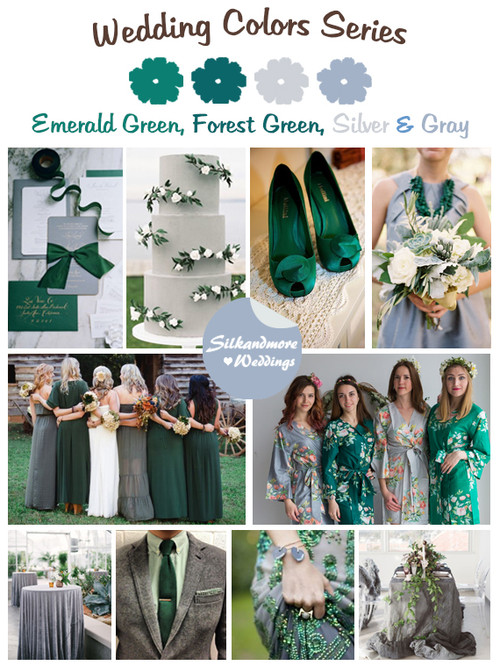 Emerald Green, Forest Green, Silver and Gray Wedding Colors Palette