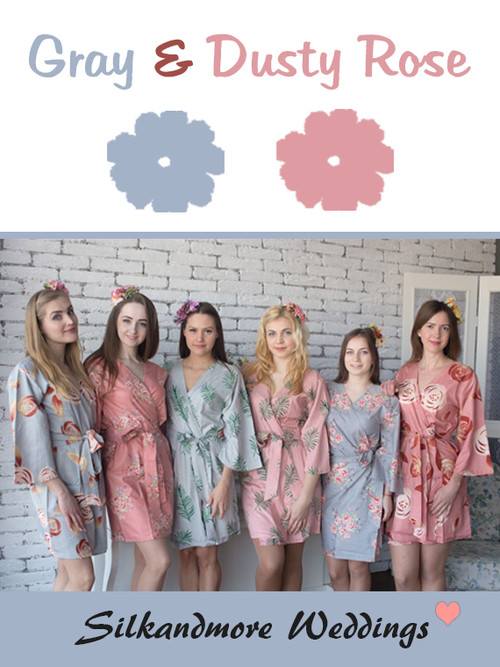 Gray and Dusty Rose Wedding Color Robes - Premium Rayon Collection