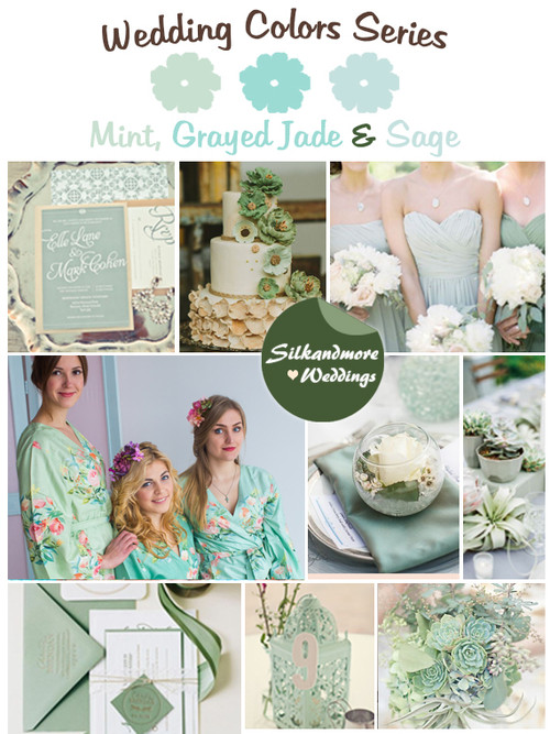 Mint, Grayed Jade and Sage Wedding Colors Palette