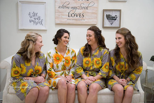 gray color sunflower  robes, sunflower wedding theme robes