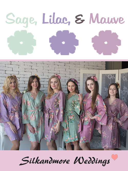 Sage, Lilac and Mauve Wedding Color Robes - Premium Rayon Collection