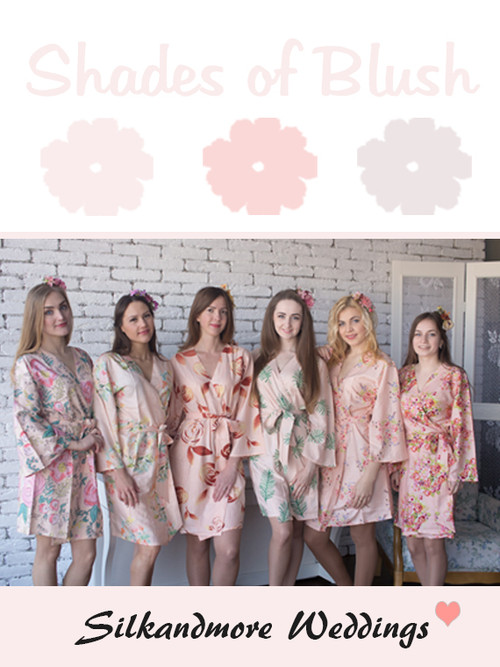 Shades of Blush Wedding Color Robes - Premium Rayon Collection