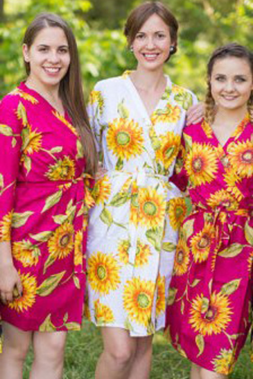 Magenta sunflower bridesmaids robes, set of 3 robes,