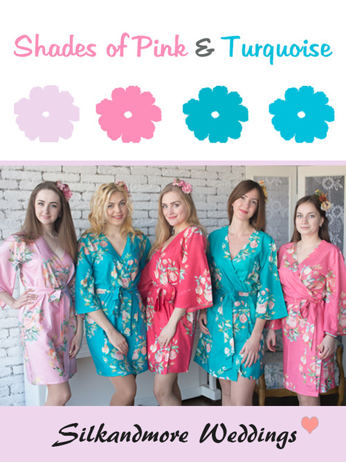 Shades of Pink and Turquoise Wedding Color Robes - Premium Rayon Collection