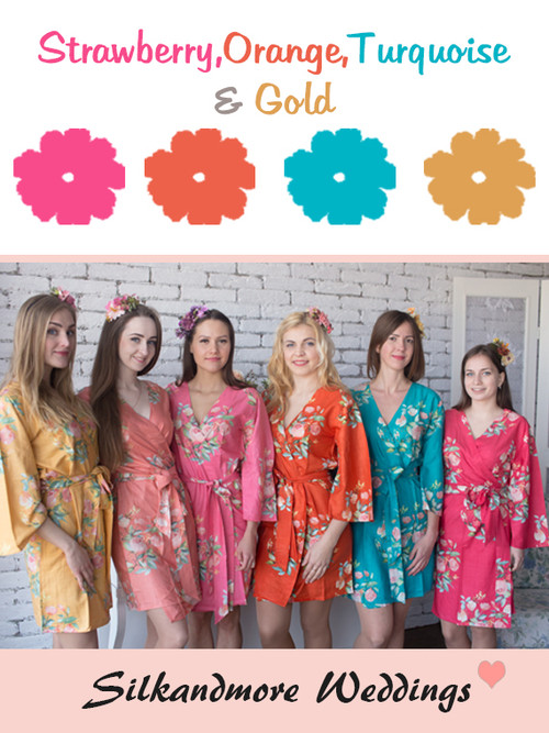 Strawberry, Orange, Turquoise and Gold Wedding Color Robes - Premium Rayon Collection