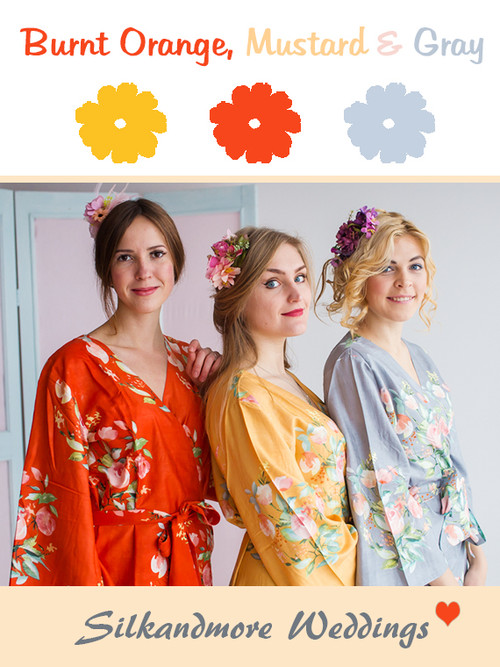 Burnt Orange, Mustard and Gray Wedding Color Robes - Premium Rayon Collection