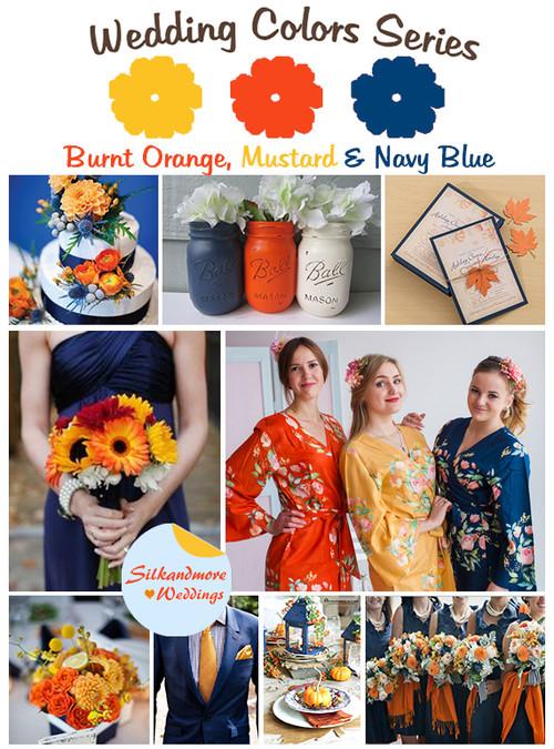Burnt Orange, Mustard and Navy Blue Wedding Color Palette