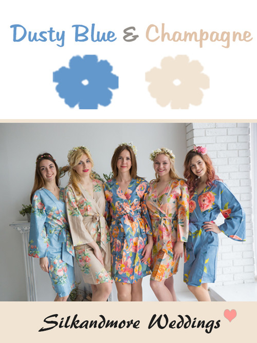 Dusty Blue and Champagne Wedding Color Robes- Premium Rayon Collection
