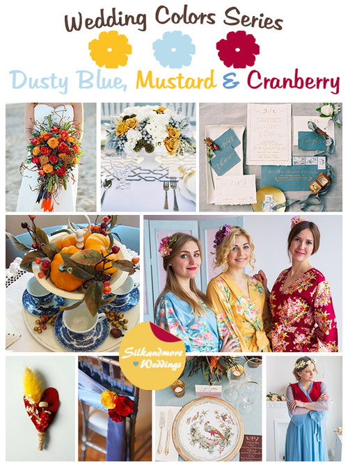 Dusty Blue, Mustard and Cranberry Wedding Color Palette