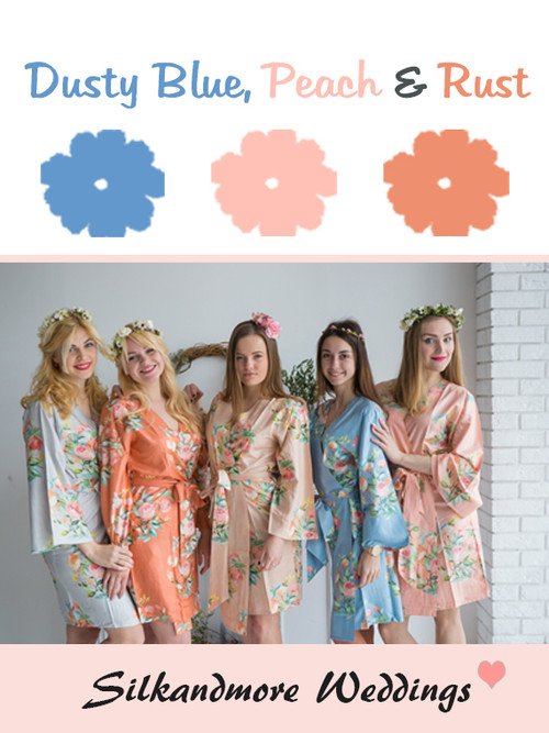 Dusty Blue, Peach and Rust Wedding Color Robes- Premium Rayon Collection