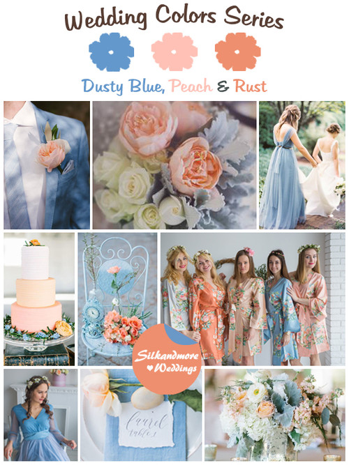 Dusty Blue, Peach and Rust Wedding Color Palette