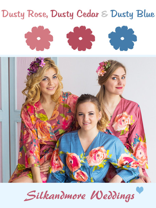 Dusty Rose, Dusty Cedar and Dusty Blue Wedding Color Robes- Premium Rayon Collection