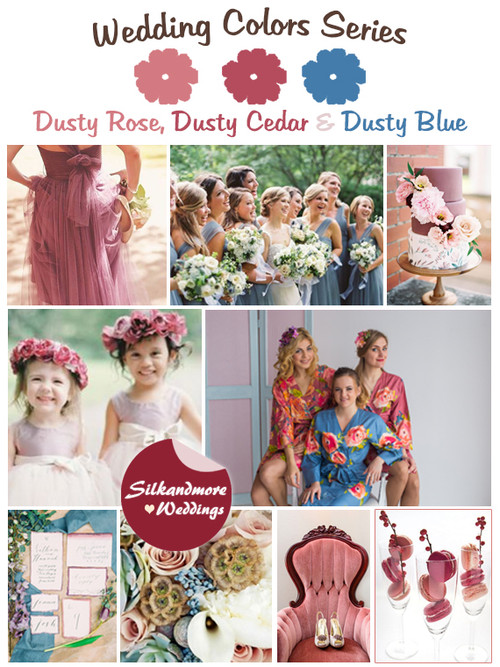 Dusty Rose, Dusty Cedar and Dusty Blue Wedding Color Palette