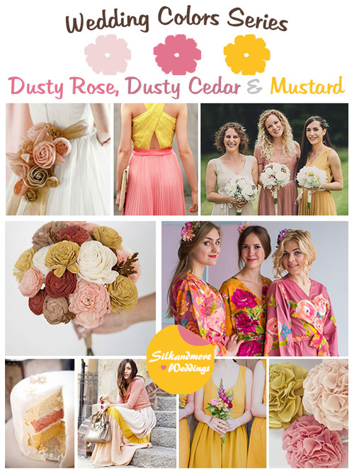 Dusty Rose, Dusty Cedar and Mustard Wedding Color Palette