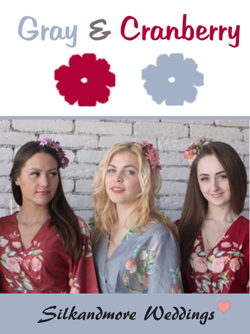 Gray and Cranberry Wedding Color Robes- Premium Rayon Collection
