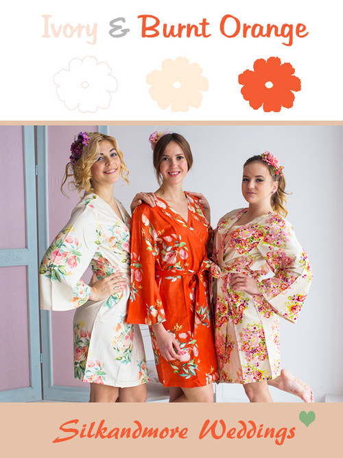 Ivory and Burnt Orange Wedding Color Robes- Premium Rayon Collection