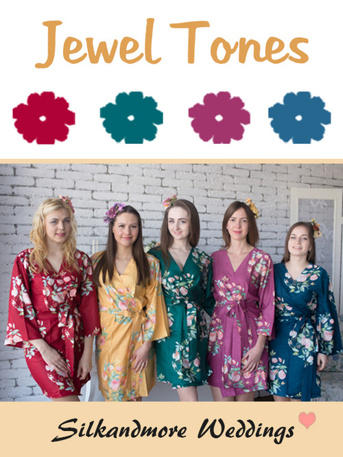 Jewel Tones Wedding Color Robes- Premium Rayon Collection