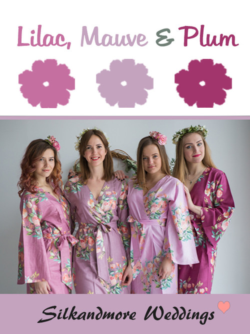 Lilac, Mauve and Plum Wedding Color Robes- Premium Rayon Collection