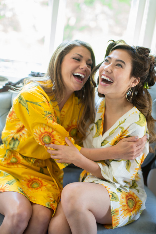 Yellow Sunflower Robes for bridesmaids | Getting Ready Bridal Robes