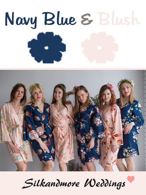 Navy Blue and Blush Wedding Color Robes- Premium Rayon Collection